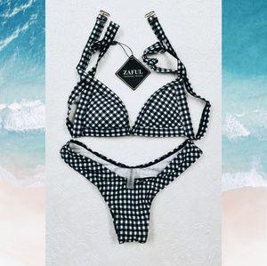 Zaful High Cut Gingham Thong Bikini - Small